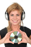 Woman Holding CD Royalty Free Stock Photography