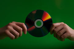 Woman holding cd disk Royalty Free Stock Photo