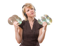 Woman holding cds Stock Image