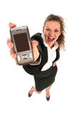 Woman holding cell phone. Portrait of a young woman holding cell phone Stock Photo