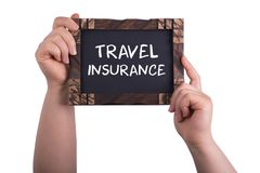 Travel insurance. A woman holding chalkboard with words Travel insurance isolated on white background royalty free stock images