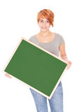 Woman holding a chalkboard Stock Images