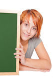 Woman holding a chalkboard Stock Photos
