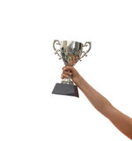 Woman holding a champion silver trophy on white background Stock Photo