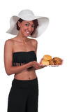 Woman holding chicken and biscuits Royalty Free Stock Photos