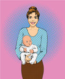 Woman holding a child vector illustration in retro pop art style. Mother with her kid comic design poster Stock Photography