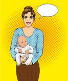Woman holding a child vector illustration in retro pop art style. Mother with her kid comic design poster Stock Photos