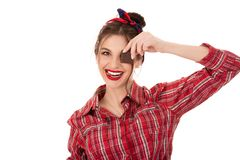 Woman holding chocolate bar at her face royalty free stock photos