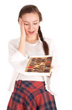 Woman holding chocolate box Stock Photography