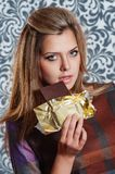 Woman holding chocolate Royalty Free Stock Photo