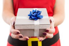 Woman holding Christmas gift with both hands. And wearing red santa apron offering showing giving it to the camera royalty free stock photography