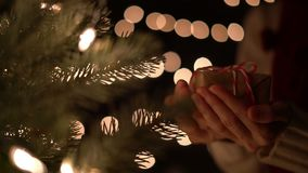 Woman holding Christmas gift box with Christmas tree on bokeh lights background.  stock video footage