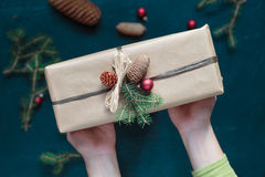Woman holding Christmas present Royalty Free Stock Images