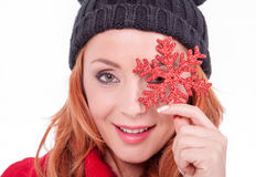 Woman holding christmas star Stock Image
