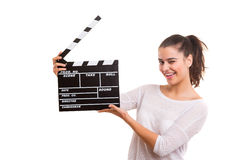 Woman holding a clapboard Royalty Free Stock Images