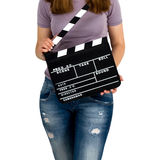 Woman holding a clapboard stock image
