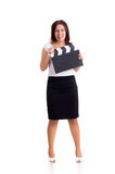 Woman holding a clapper Stock Images