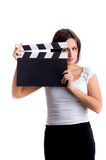 Woman holding a clapper Stock Photo