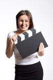 Woman holding a clapper Royalty Free Stock Images