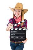 Woman holding clapperboard isolated on white Stock Images