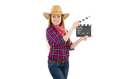Woman holding clapperboard isolated on white Royalty Free Stock Images