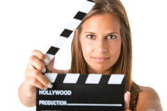 Woman Holding a Clapperboard Stock Image