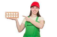 Woman holding clay brick isolated on white Stock Images