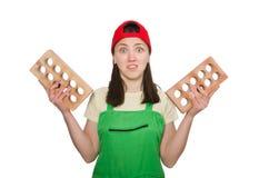 Woman holding clay brick Royalty Free Stock Image