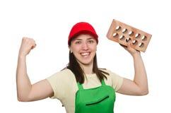 Woman holding clay brick Royalty Free Stock Photos