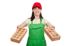 Woman holding clay brick isolated on white Stock Image