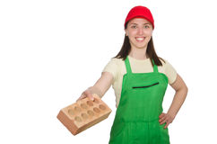Woman holding clay brick isolated on white Royalty Free Stock Photography
