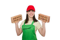 Woman holding clay brick isolated on white Royalty Free Stock Photo