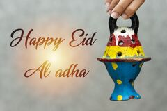 Free Woman Holding Clay Lantern. Happy Eid Al Adha Concept. Royalty Free Stock Photography - 190759707