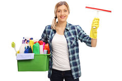 Woman holding cleaning equipment Royalty Free Stock Photography