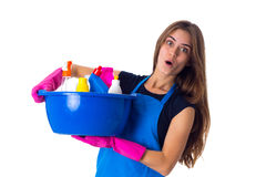 Woman holding cleaning things in washbowl Royalty Free Stock Image