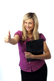Woman Holding a Clip Board Stock Image