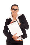 Woman holding clip board Royalty Free Stock Photos