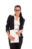 Woman holding clip board Stock Photography