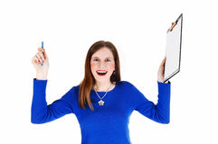 Woman holding clip board. Stock Image