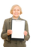 Woman holding a clipboard Stock Photography