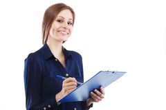 Woman holding clipboard Stock Photography