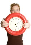 Woman Holding Clock Stock Images