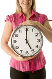 Woman Holding Clock Royalty Free Stock Images