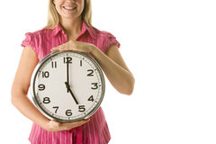 Woman Holding Clock Stock Photography