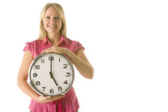 Woman Holding Clock Royalty Free Stock Photo