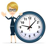 Woman Holding Clock, Stock Images
