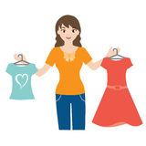 Woman holding clothing vector. Vector of woman holding clothing Vector Illustration