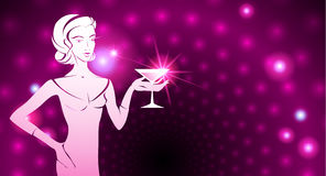 Woman holding a cocktail. A sparkling background Stock Image