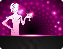 Woman holding a cocktail. A sparkling background Royalty Free Stock Images