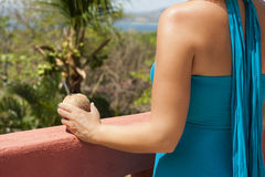 Woman Holding Coconut Water Royalty Free Stock Image